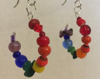 Rainbow girl earrings