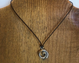 Koru - swirl necklace, sterling silver spiral pendant on leather cord with sterling silver lobster clasp