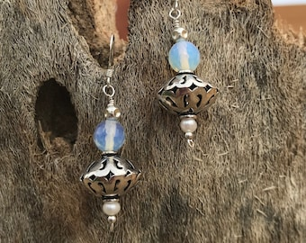 Moonglow Ear Danglers with Petite Pearls