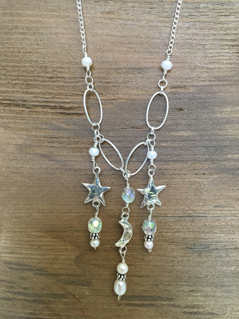 Crystals moon and stars necklace image 0