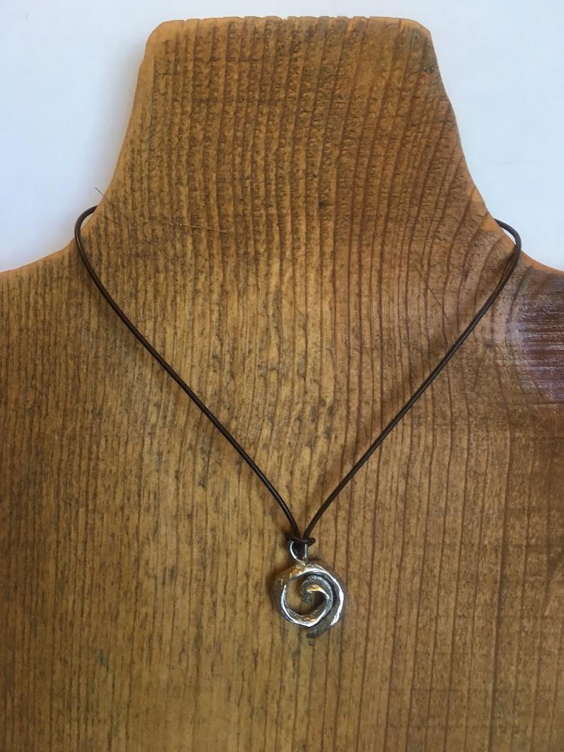 Koru  swirl necklace sterling silver spiral pendant on image 0