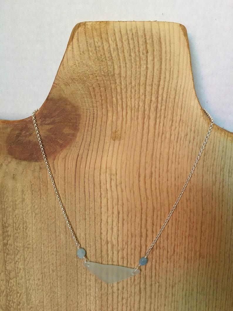 Aquasoul tumbled mountain glass & aquamarine necklace image 0