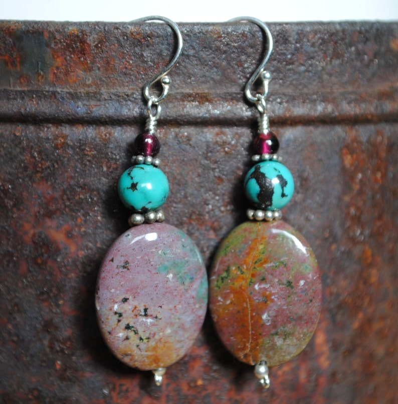 Apatite and turquoise with garnet earrings image 0