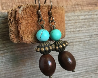 Turquoise, brass and brown seed earrings