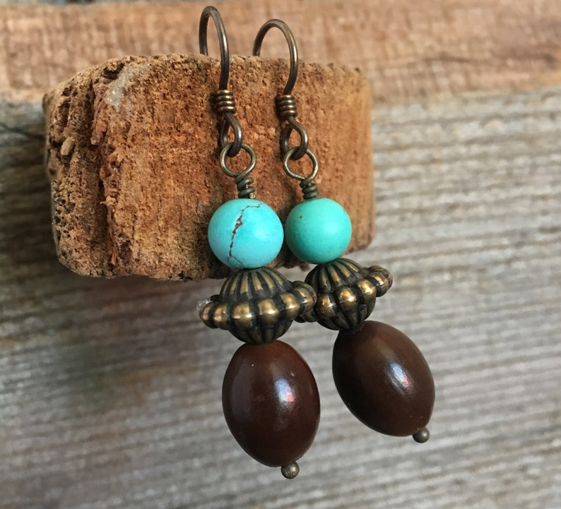 Turquoise brass and brown seed earrings image 0