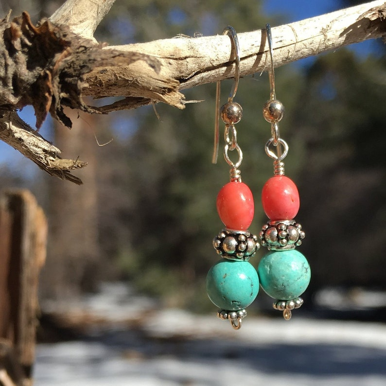 Turquoise and coral earrings image 0