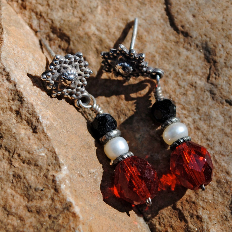 Sterling Silver Snowflake earrings with black & red crystal image 0