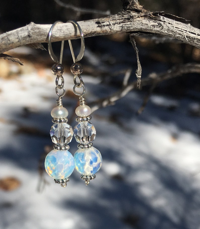 Snow balls and crystals  earrings image 0