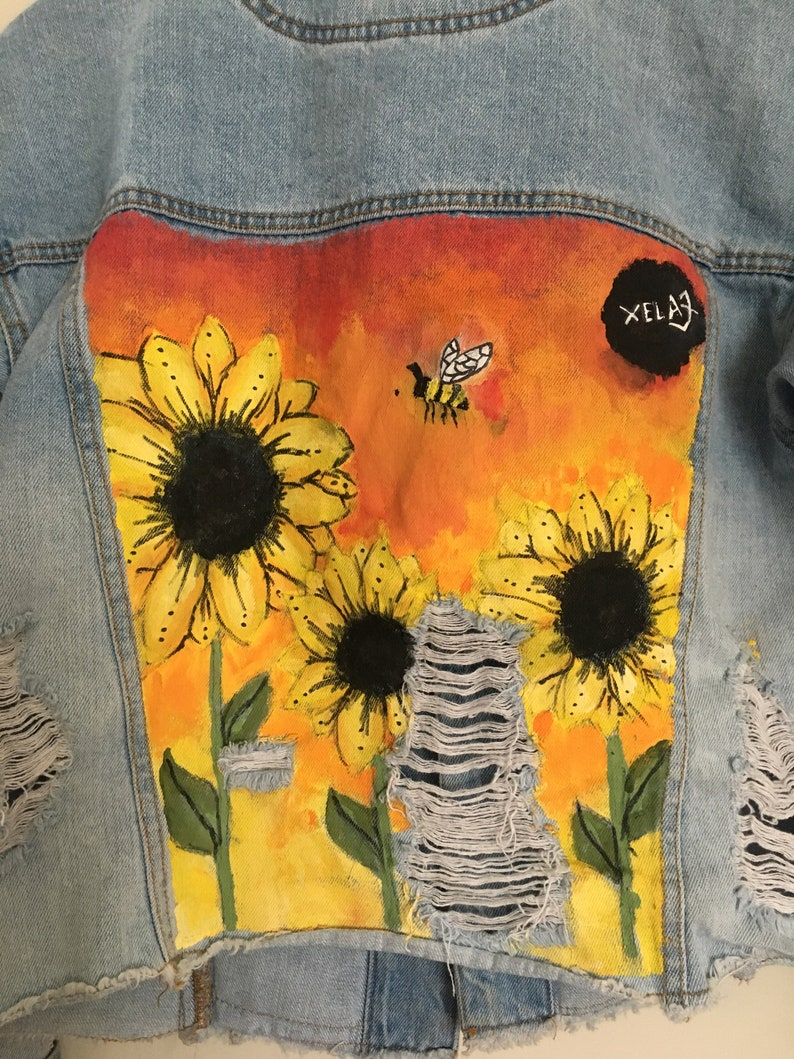 Stylishly ripped hand painted Sunflower jean jacket image 0