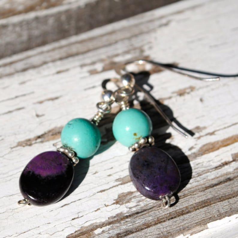 Sugelite & Turquoise Earrings image 0