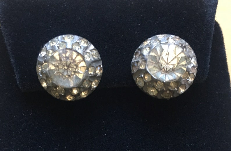 Vintage Rhinestone Clip-on Earrings Round slight cone in image 0