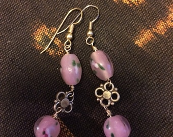Pretty In Pink glass and gold metal accented Earrings