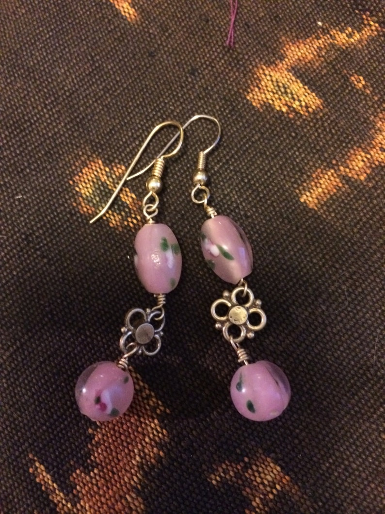 Pretty In Pink glass and gold metal accented Earrings image 0