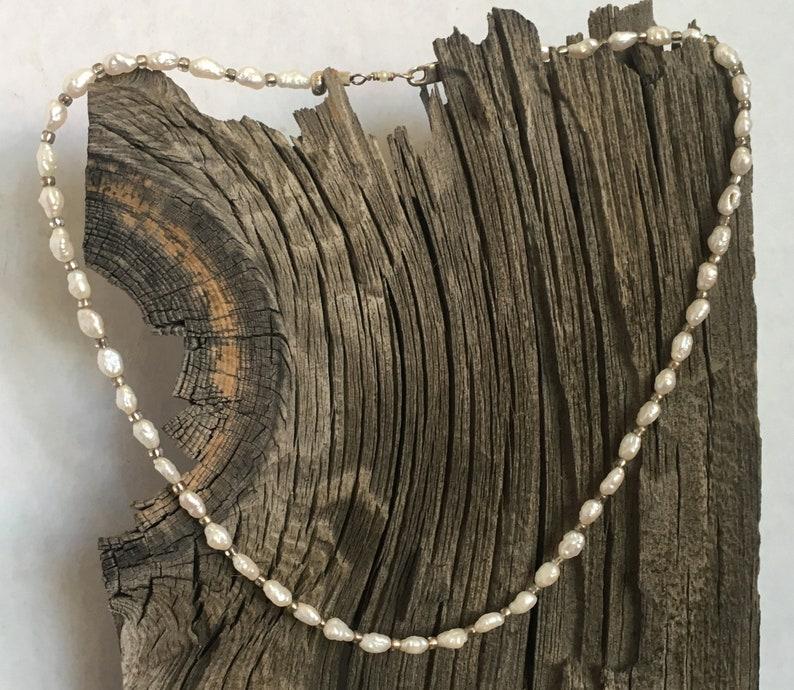 Fresh water pearl and mirror seed bead choker image 0