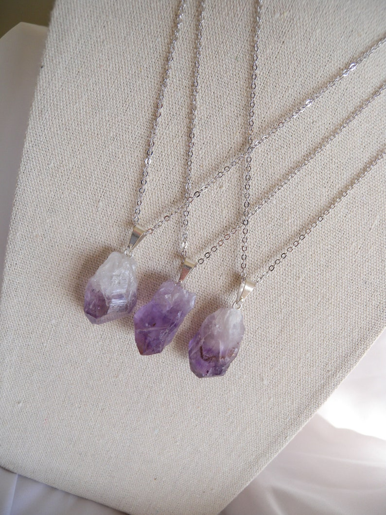 Amethyst Necklace Gemstone Jewelry Raw Crystal Natural Amethyst Pendant- Layering February Birthday Crystal Necklace