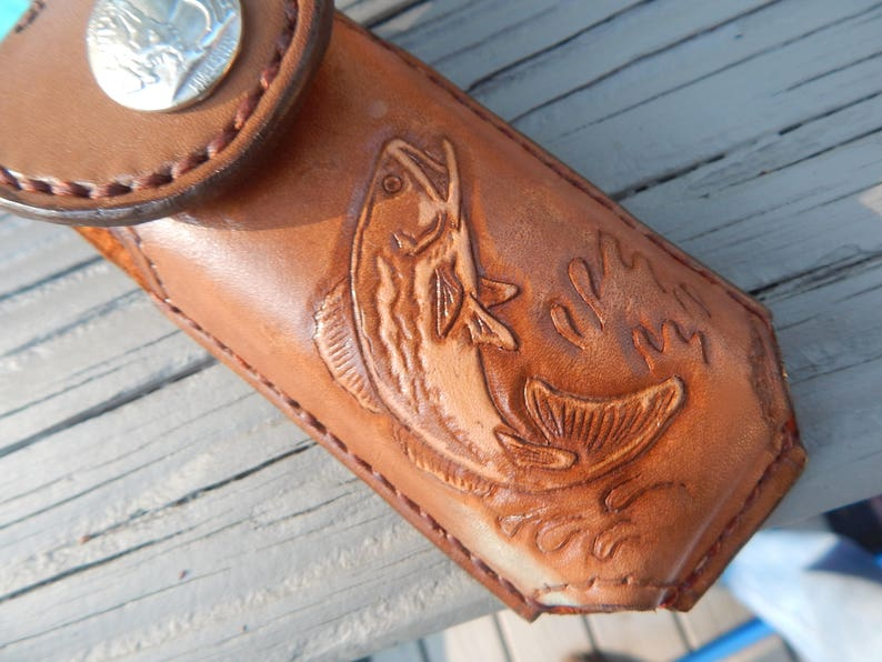 Leather leatherman tool case w bass artwork hand carved and etsy