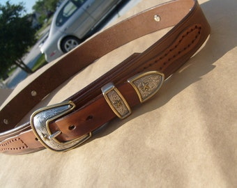 Western Ranger Concho Belt w/ Round Star Conchos and Name on the Back