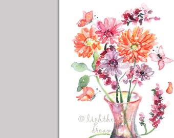 Gerber Daisy Print, Gift for Mom, Flower Decor, Colorful Flower, Autumn Decor, watercolor print, orange, purple, Flower Painting, Flower art