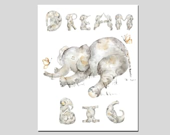Baby Shower Gift, Nursery Elephant Print, Dream Big Print, Gift for Baby Boy, Elephant Nursery Decor, Boy's Nursery Art, Elephant Painting