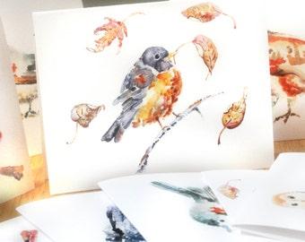Boxed Autumn Notecards Set, Bird Watercolor Cards, Gift for Mom, Flower Cards, Set of 10, Watercolor Bird Notecards