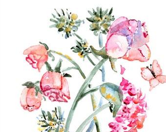 Rose Print, Spring Decor, Gift Mom, Flower Print, girls wall art, Pink, teal, Easter gift, Flower Painting, Watercolor Painting, Flower art