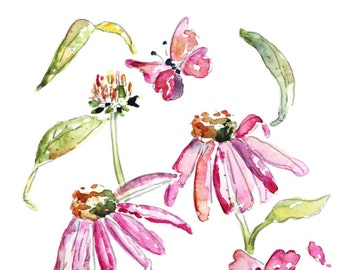 Magenta Watercolor Flower, Girl's Bedroom Art, Big Girl's Room, Bedroom Wall Art, Pink flower Painting, Butterfly Art