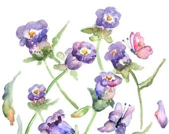 watercolor flower print, watercolor painting, purple art, watercolor print, bathroom wall art, canterbury bells, amethyst decor, green