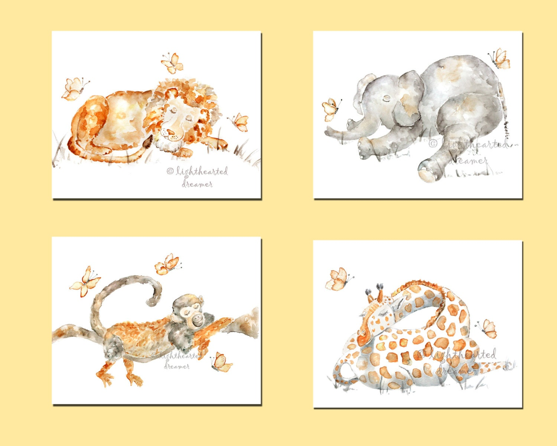 Nursery Print Set Sleeping Animal Prints baby artwork   Etsy