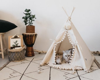 Modern Cat Bed or Dog Bed: Cat Teepee or Dog Teepee from 100% Cotton with Pom Pom Decor