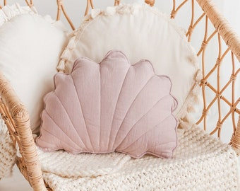 Seashell Linen Cushion - Starfish Decorative Pillows - Beach Style Teepee Tent Throw Pillows