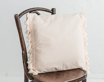 Decorative Cushions with Tassels - Kids Pillows for Nursery Decor - Teepee Cushion - Square Cushion Covers with Inner Pillow