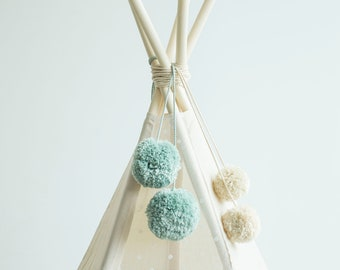 Light Mint Pom Pom Balls for your Teepee Decorations Fully Handmade!