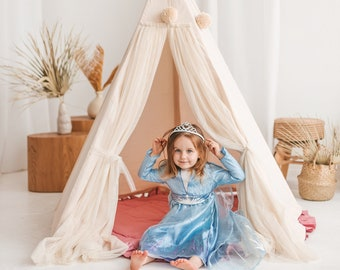 Fairy Teepee For Kids by Minicamp - Princess Tulle Tipi Tent with Glitter & Extra Poles for Stability