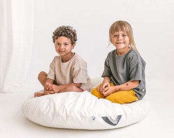 Lounger Floor Pillow with Cover - Beige Cushion Seating - Oversized Pillow for Kid Teepee Tent