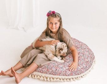 Floor Cushion for Kids Teepee Tent - Nursery Seat Pad with Inner Pillow, Washable Cover & Matching Playmat