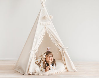 Original Kids Teepee by Minicamp - Boho Style Kids Play Tent with Tassel Decor & Extra Poles For Stability!