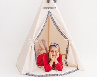 Children Teepee Tent with Grey Pompoms and Natural Wood Poles