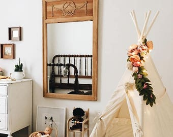 Boho teepee decor, artificial flowers, fake flowers, teepee topper, floral garland, peonies garland, flower garland, vintage, girls room