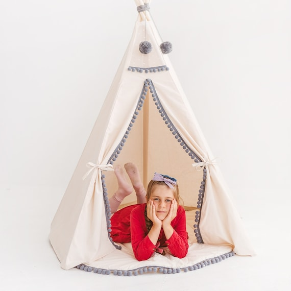 Tipi Playtent from Canvas and Wooden Poles Extra Stable Children Playhouse Kids Teepee Tent with Grey Pom Poms Decor