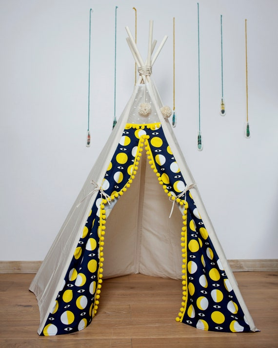 new product 6562b e95ae Kids Teepee with Poles: Children Indoor Tipi Tent