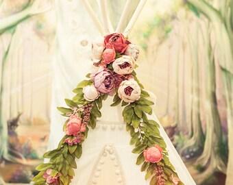 Floral Garland for Boho Teepee Decor: Teepee Topper from Peonies Garland, Wedding garland, Nursery garland
