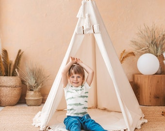 Indian Teepee Tent for Kids - Children  Wigwam Playhouse with Rolled Door & Extra Poles for Stability
