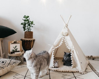 SAMPLE SALE - Cat Teepee or Dog Teepee from 100% Cotton with Pom Pom Decor
