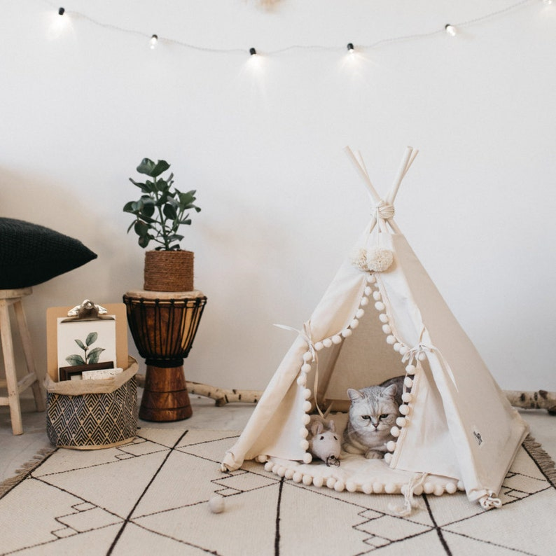 9e70861520e2 Modern Cat Bed or Dog Bed: Cat Teepee or Dog Teepee from 100% Cotton with  Pom Pom Decor
