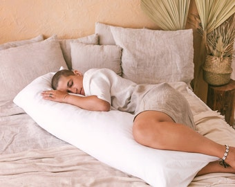 White Pregnancy Support Pillow with GOTS certified Cover - Sports Recovery - Back, Neck & Leg Pain Relief - Long Lumbar Pillow