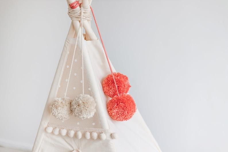Coral Handmade Pom Poms for Nursery Decoration: Teepee Decor image 0