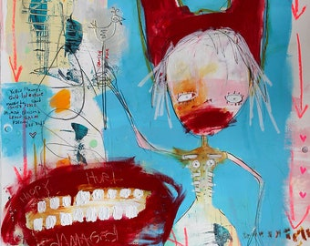 Abstract Portrait Art Print, Art Brut big red lips and teeth, raw expressionist painting, modern art, creepy cute outsider art, witch doctor