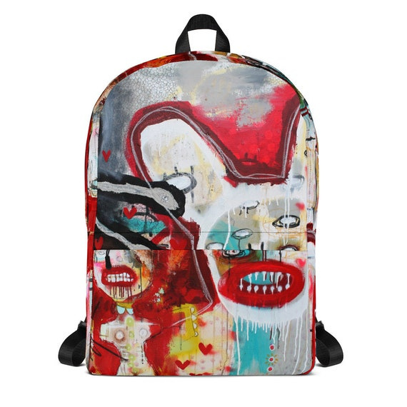 Abstract Graffiti Faces Print Design Backpack