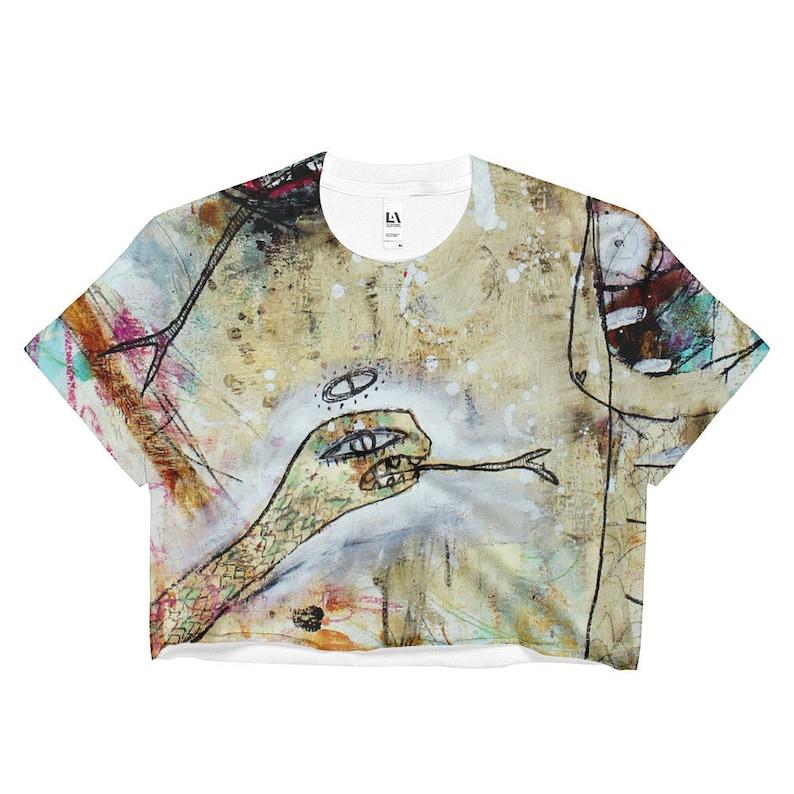 Abstract Art Crop Top, creepy gold snake tee, demon lady t shirt, goth  belly shirt, graffiti half shirt, gift for her, outsider art