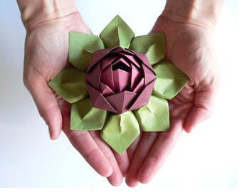 Paper flowers etsy handmade paper flower origami lotus flower decoration or favor merlot rhubarb and moss green mightylinksfo